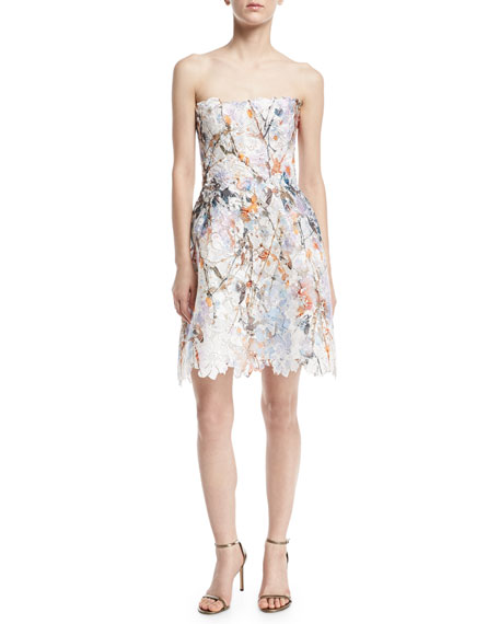 Strapless Floral Lace Minidress, White