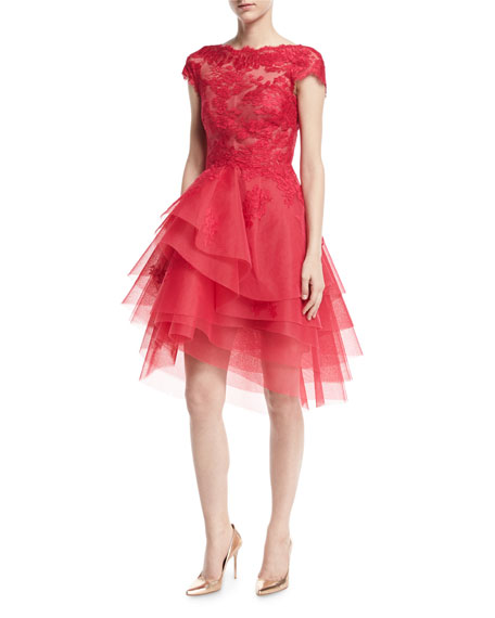Lace & Tulle Cap-Sleeve Fit & Flare Dress, Cherry