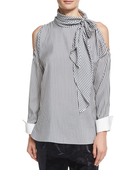 Striped Cold-Shoulder Tie-Neck Blouse, White/Blue