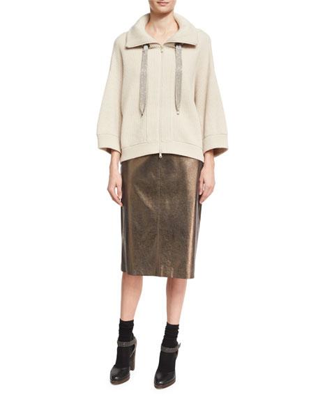Metallic Leather Pencil Skirt, Light Brown