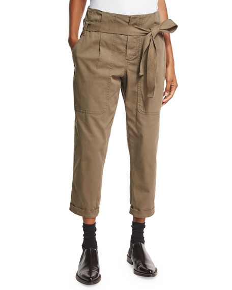 Belted Utility Paperbag-Waist Pants