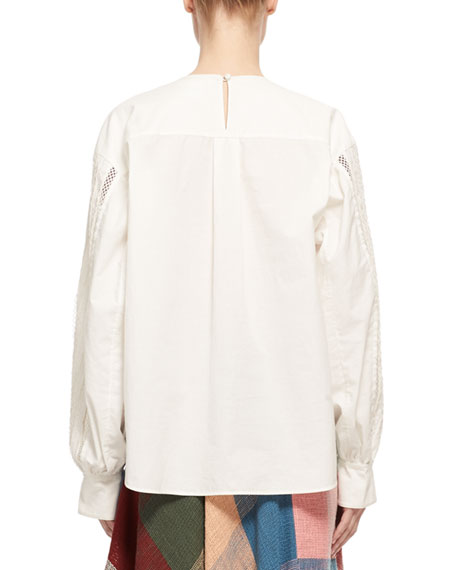 Button-Sleeve Lace-Trim Cotton Blouse, White