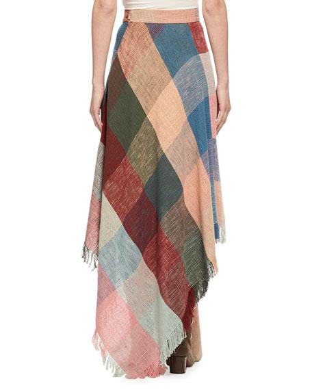 Colorblock Fringed Handkerchief Maxi Skirt, Multicolor
