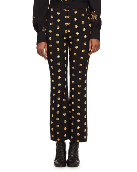 Embroidered Flower Kick-Flare Pants, Black/Gold