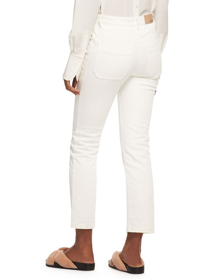 Lace-Up Wide-Leg Jeans, White