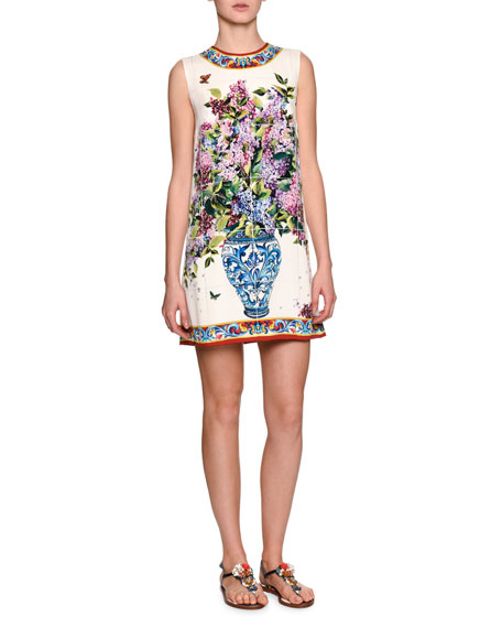 Charmeuse Floral Vase Printed Minidress, White