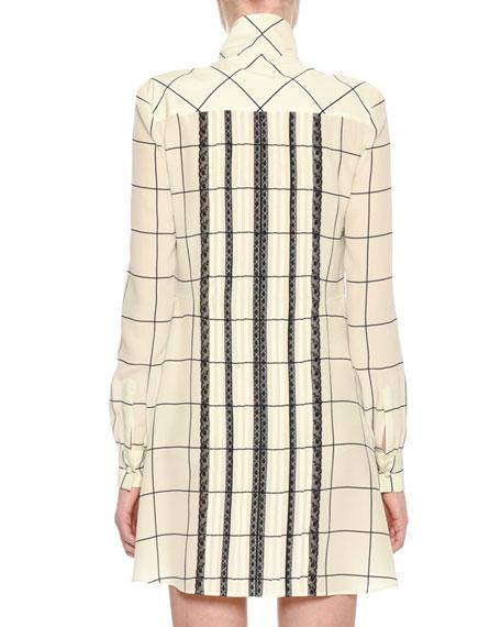 Long-Sleeve Windowpane Tie-Neck Shirtdress, White/Black