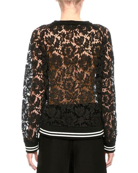 Lace Sweatshirt with Varsity Stripes, Black