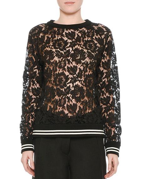Valentino Lace Sweatshirt with Varsity Stripes, Black