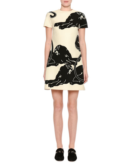 Panther Short-Sleeve Shift Dress, White/Black