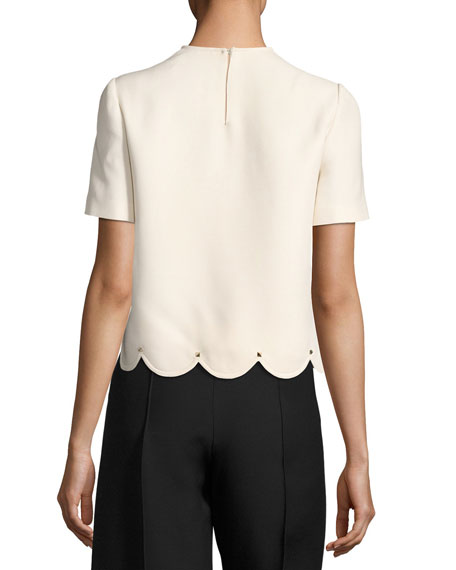 Crepe Couture Scalloped Top with Rockstud Trim, COLOR