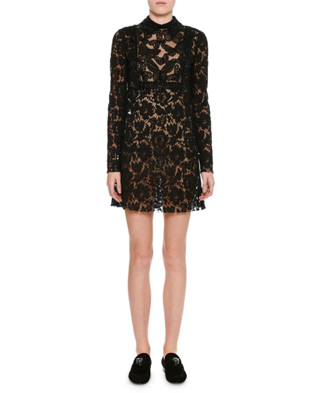 Valentino Butterfly & Floral Lace Minidress, Black