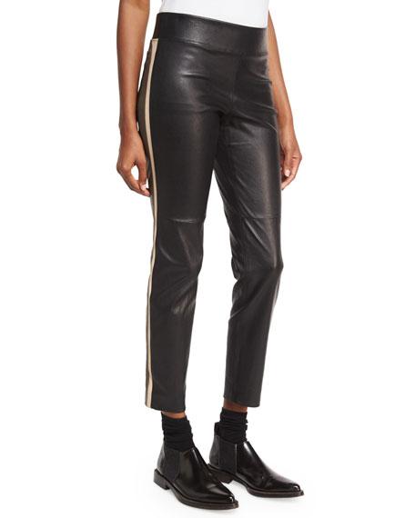 Varsity-Striped Leather Pants, Black