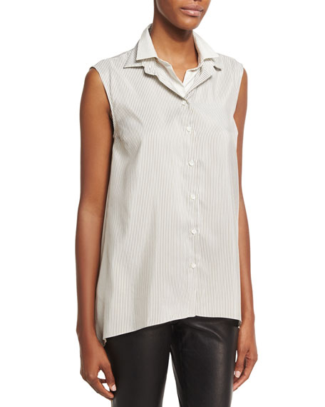 Sleeveless Striped Double-Layer Blouse, White
