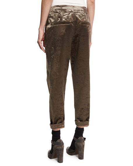 Cropped Velvet Jogger Pants, Brown