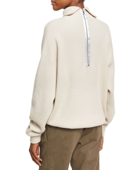 Brunello Cucinelli Ribbed Zip-Back Turtleneck Sweater, Beige