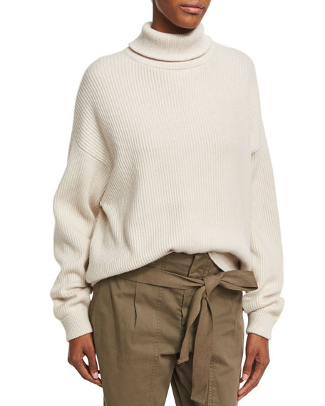 Ribbed Zip-Back Turtleneck Sweater, Beige