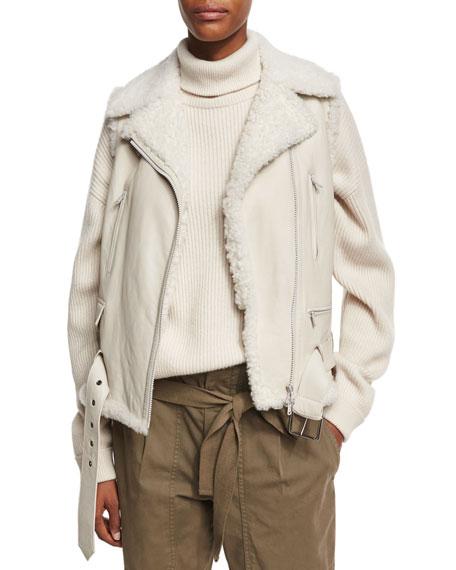 Shearling Fur-Lined Moto Vest, Beige