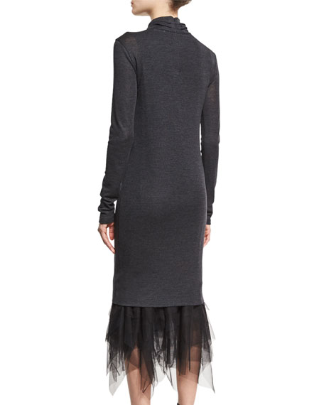 Wool-Jersey Turtleneck Dress w/Tulle Hem, Gray