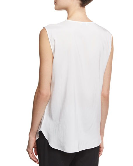Sleeveless Silk Popover Top, White