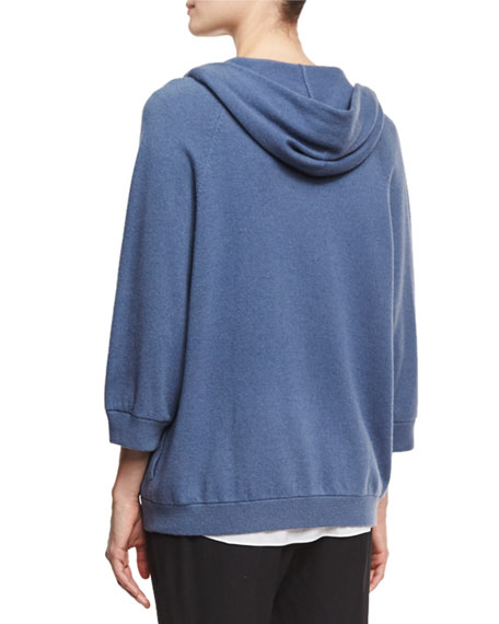 2-Ply Cashmere Snap-Front Hoodie Cardigan, Blue