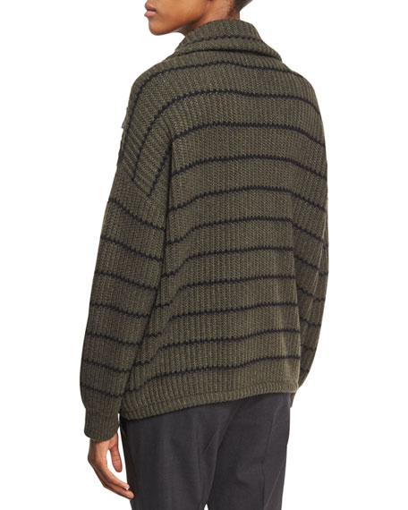 Striped Knit Zip-Front Cashmere Sweater, Green