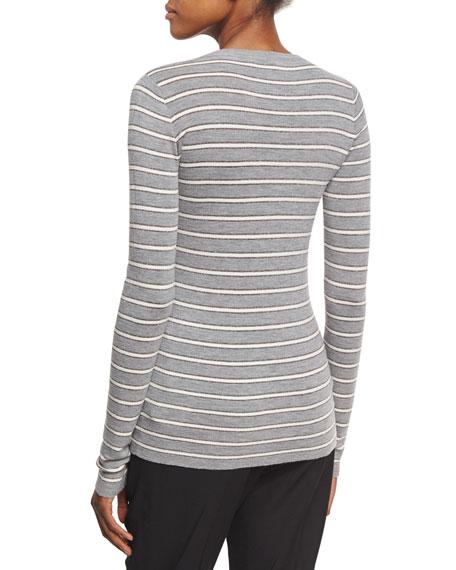 Metallic-Striped Long-Sleeve Top