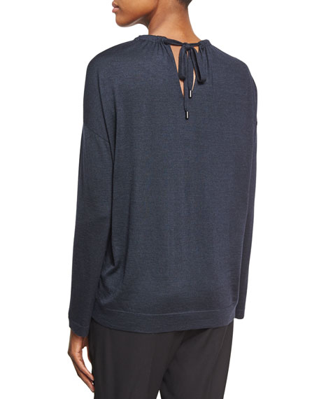 Gathered Keyhole Sweater, Navy