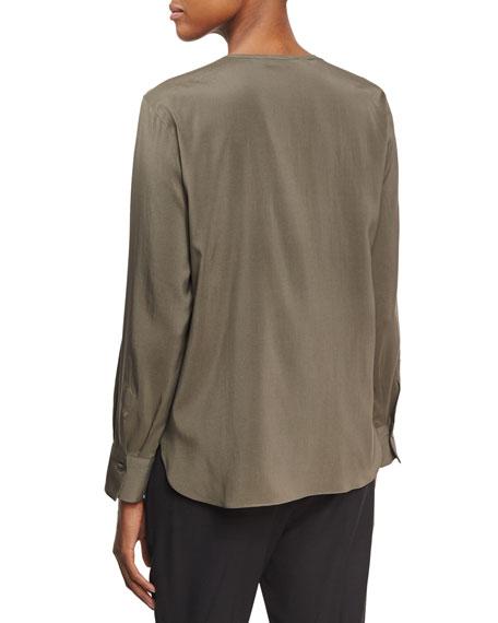 Long-Sleeve Monili-Placket Top