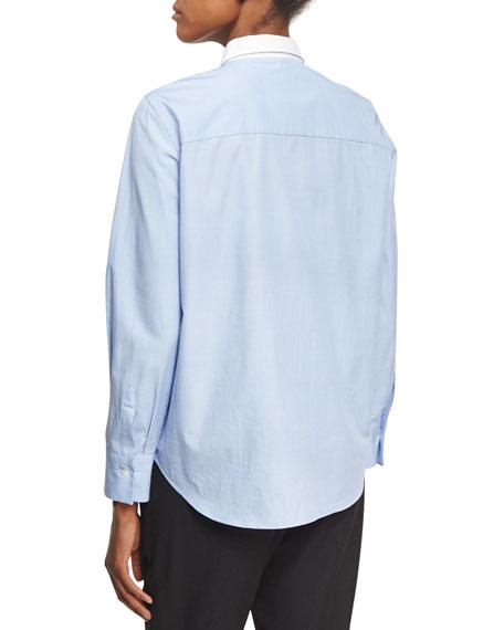 Cotton Oxford w/Chevron Pleats, Blue