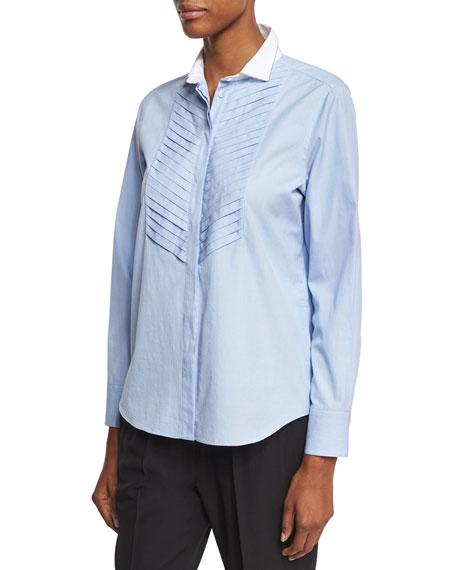 Brunello Cucinelli Cotton Oxford w/Chevron Pleats, Blue