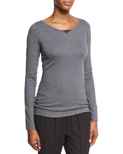Monili-Trim V-Neck Sweater, Charcoal