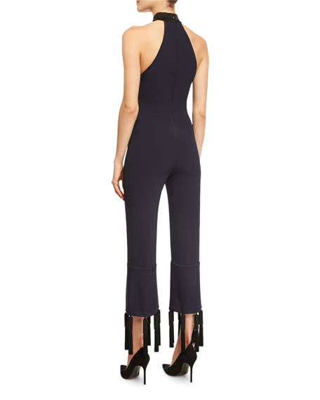Toro Tassel-Trim Halter Jumpsuit, Black/Blue