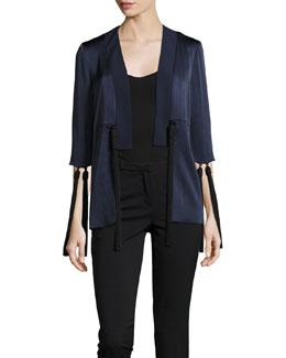 Toro Tassel-Trim Satin Jacket, Black/Blue