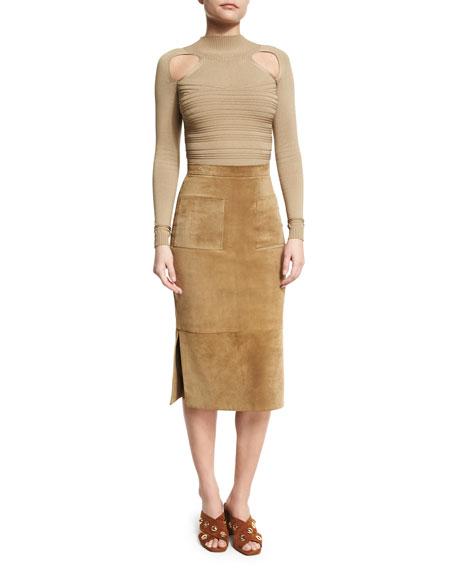 Suede Side-Slit Pencil Skirt, Beige