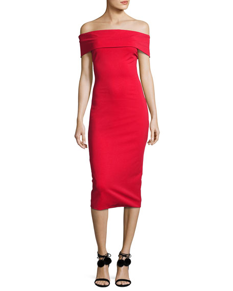Cushnie Et Ochs Off-the-Shoulder Sheath Dress, Red