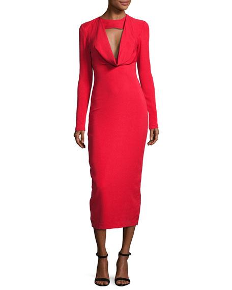 Stretch-Crepe Cowl-Neck Midi Dress, Red