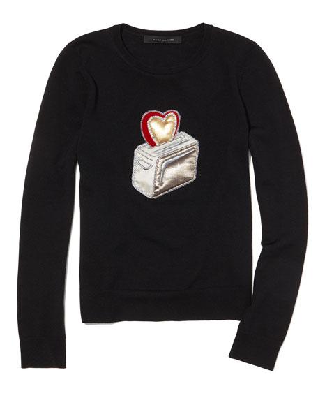 Toaster-Embellished Crewneck Sweater, Black