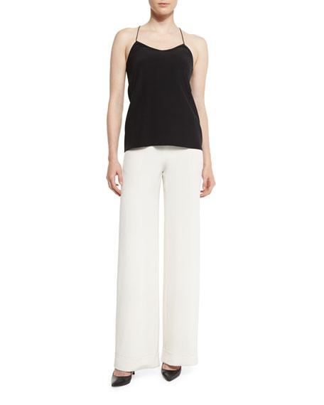 Cuffed Wide-Leg Silk Crepe Pants, Black
