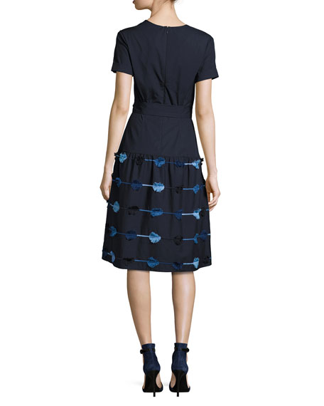 Belted A-Line Dress with Embroidered Skirt, Navy