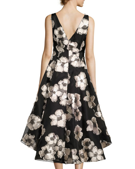 Metallic Floral Fil Coupé High-Low Dress, Blush/Black