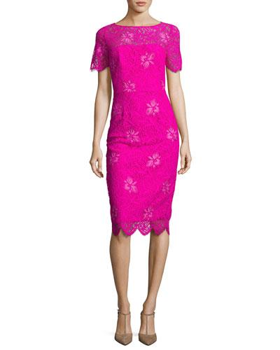 Floral Lace Short-Sleeve Sheath Dress, Fuchsia