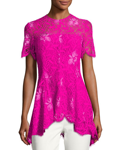Short-Sleeve Lace High-Low Top