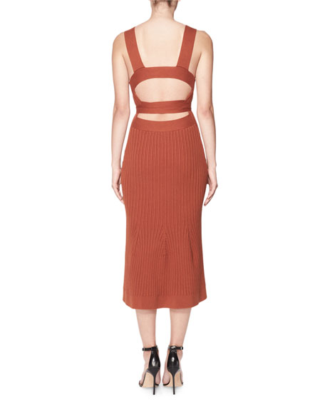 6d1cba938d17 Victoria Beckham Sleeveless Ribbed Knit Midi Dress