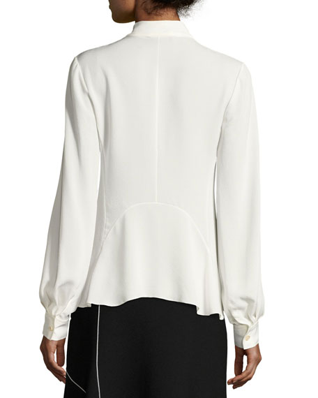 V-Neck Silk Blouse, White