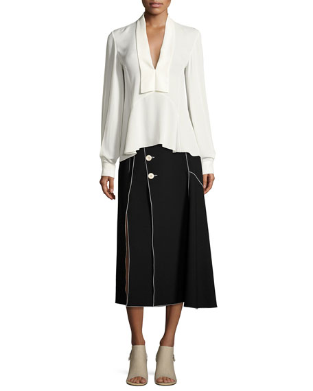 Crepe Side-Button Midi Skirt with Contrast Piping, Black