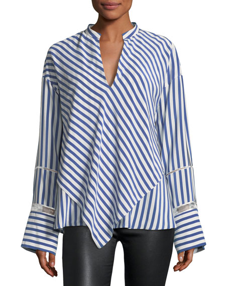 Lace-Inset Striped Silk Blouse w/ Handkerchief Hem