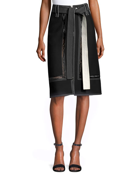 Lace-Inset Belted Zip-Front Skirt, Black