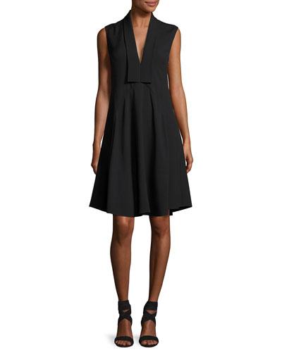 Sleeveless V-Neck Silk Dress, Black