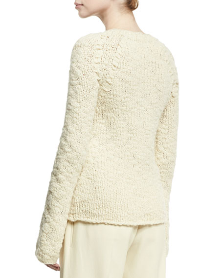 Bell-Sleeve Crewneck Sweater, Neutral